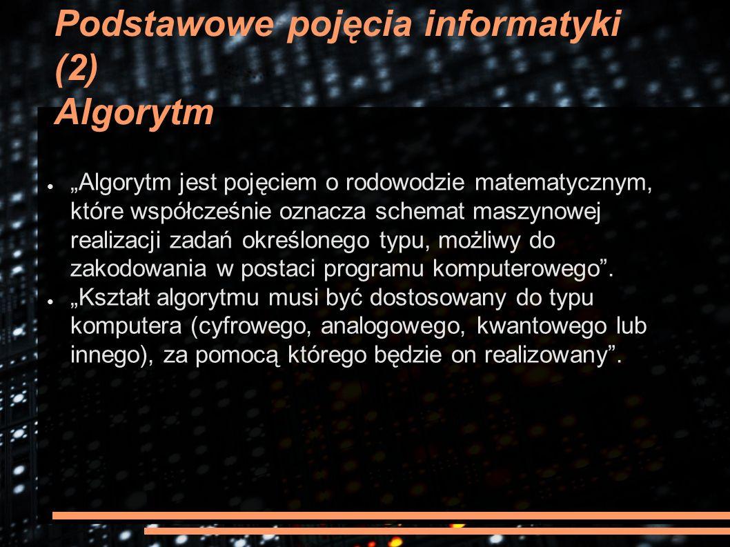 """Podstawowe pojęcia informatyki (2) Algorytm ● """"Algorytm jest pojęciem o rodowodzie matematycznym, które współcześnie oznacza schemat maszynowej realiz"""