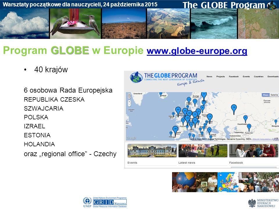 Badania gleby Warsztaty początkowe dla nauczycieli, 24 pażdziernika 2015 GLOBE Program GLOBE w Europie www.globe-europe.org www.globe-europe.org 40 kr