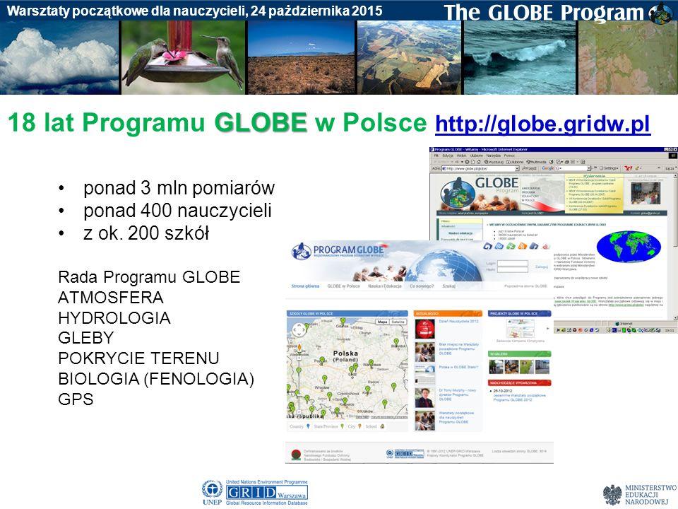 Badania gleby Warsztaty początkowe dla nauczycieli, 24 pażdziernika 2015 GLOBE 18 lat Programu GLOBE w Polsce http://globe.gridw.pl http://globe.gridw