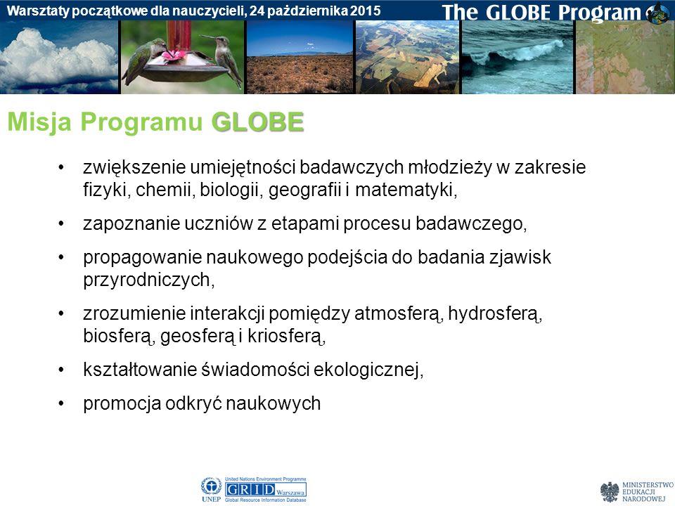 Badania gleby Warsztaty początkowe dla nauczycieli, 24 pażdziernika 2015 GLOBE Misja Programu GLOBE zwiększenie umiejętności badawczych młodzieży w za