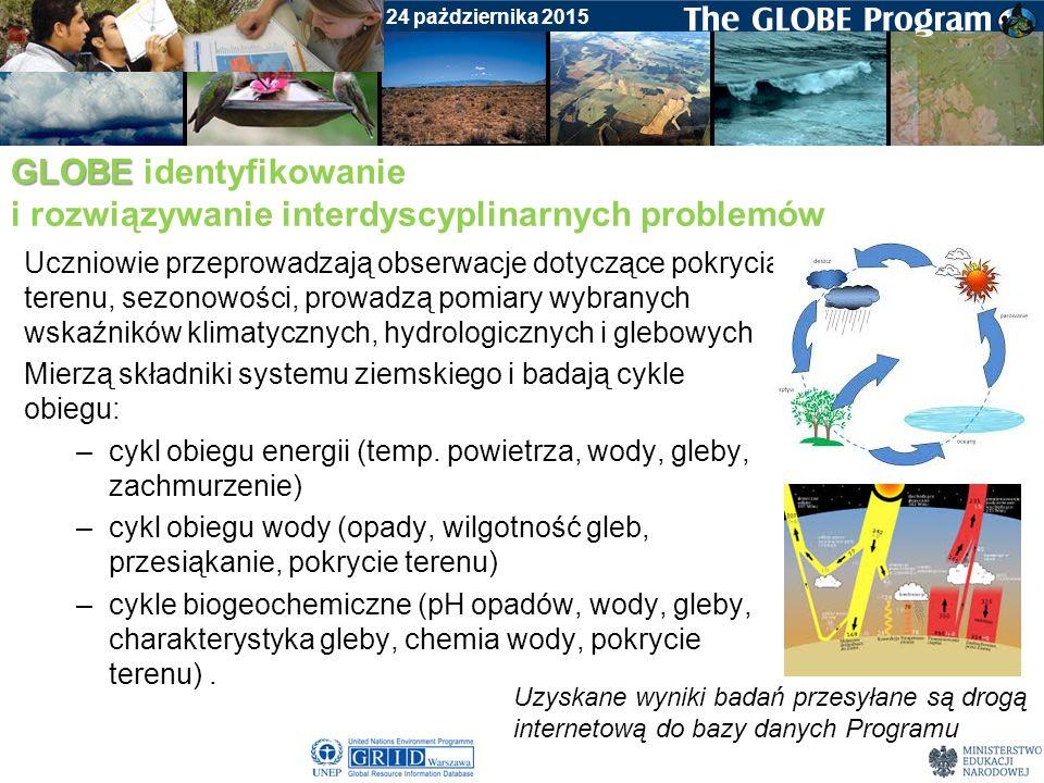 Badania gleby Warsztaty początkowe dla nauczycieli, 24 pażdziernika 2015 GLOBE GLOBE działania konferencje – nauczycieli i dyrektorów szkół warsztaty dla nauczycieli (początkowe I i II, zaawansowane, doszkalające) webinaria zajęcia terenowe dla uczniów GLOBE GAMES (krajowe i międzynarodowe) udział w podprojektach