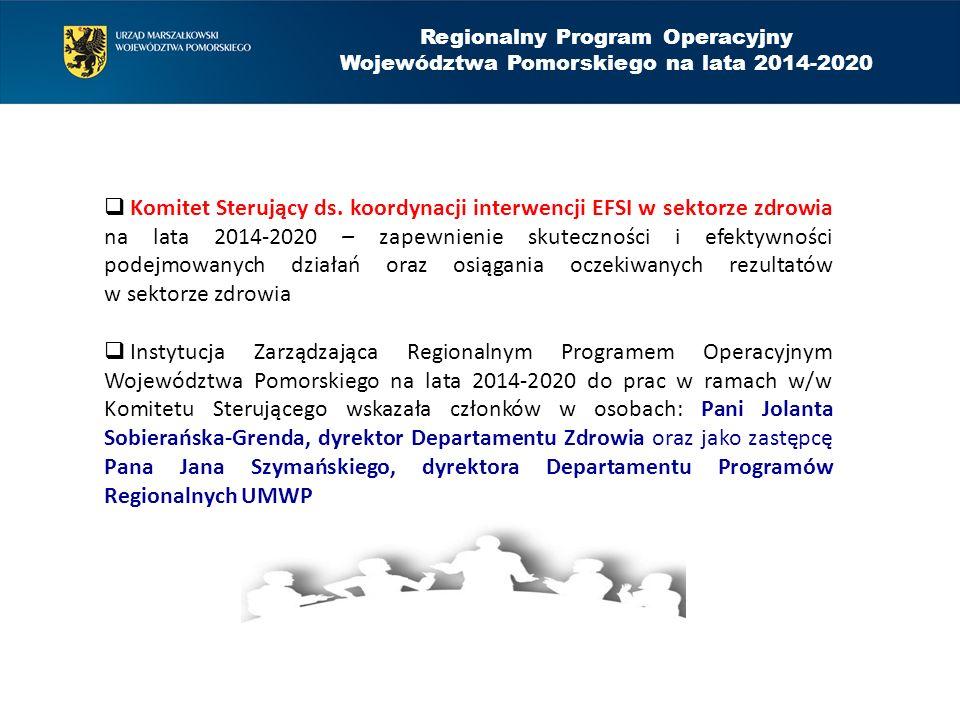 Regionalny Program Operacyjny Województwa Pomorskiego na lata 2014-2020  Komitet Sterujący ds. koordynacji interwencji EFSI w sektorze zdrowia na lat