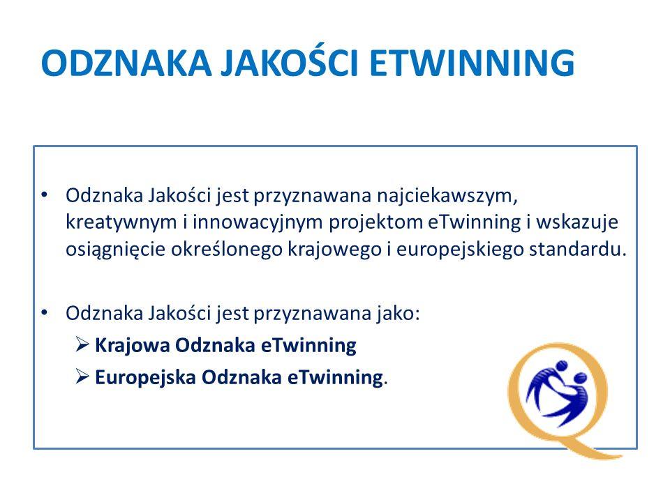 ODZNAKA JAKOŚCI ETWINNING Odznaka Jakości jest przyznawana najciekawszym, kreatywnym i innowacyjnym projektom eTwinning i wskazuje osiągnięcie określonego krajowego i europejskiego standardu.
