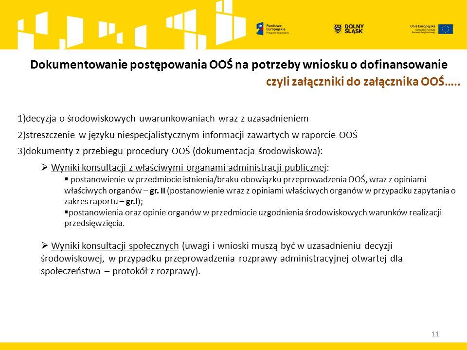11 1)decyzja o środowiskowych uwarunkowaniach wraz z uzasadnieniem 2)streszczenie w języku niespecjalistycznym informacji zawartych w raporcie OOŚ 3)dokumenty z przebiegu procedury OOŚ (dokumentacja środowiskowa):  Wyniki konsultacji z właściwymi organami administracji publicznej:  postanowienie w przedmiocie istnienia/braku obowiązku przeprowadzenia OOŚ, wraz z opiniami właściwych organów – gr.
