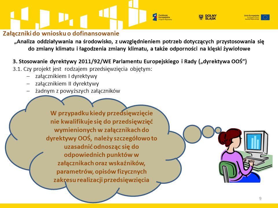 """9 3. Stosowanie dyrektywy 2011/92/WE Parlamentu Europejskiego i Rady (""""dyrektywa OOŚ ) 3.1."""