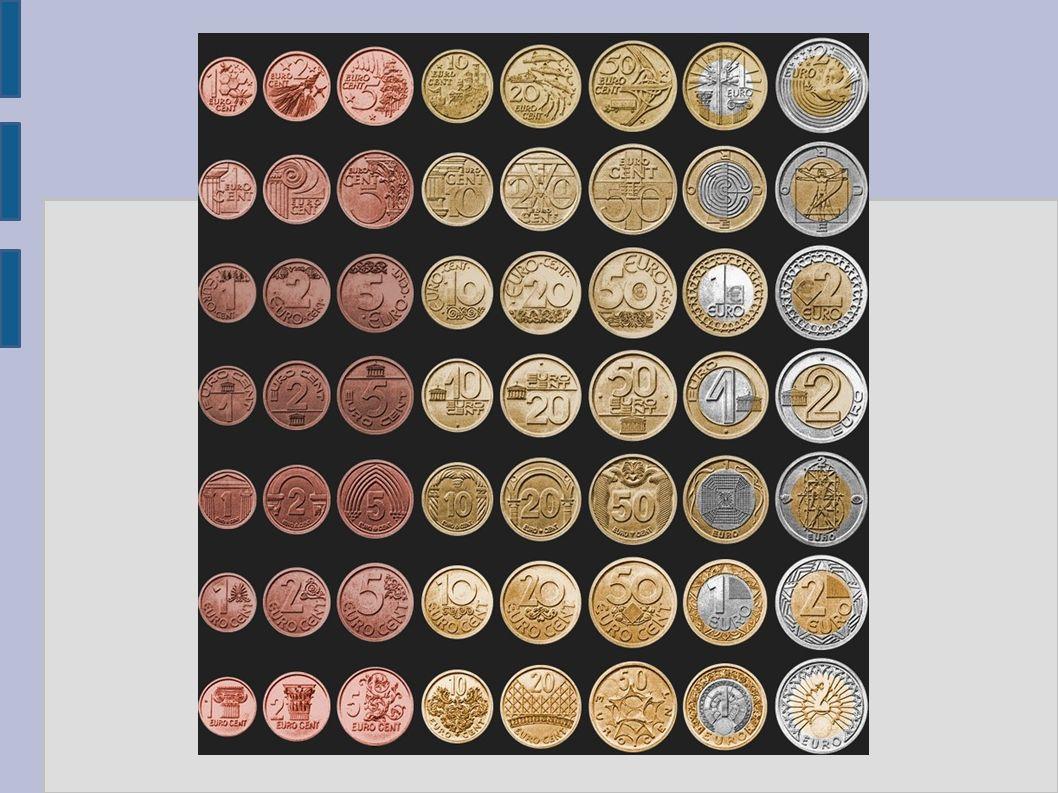 Wygląd Banknoty euro: Wszystkie poszczególne nominały w przeciwieństwie do monet są identyczne po obu stronach.