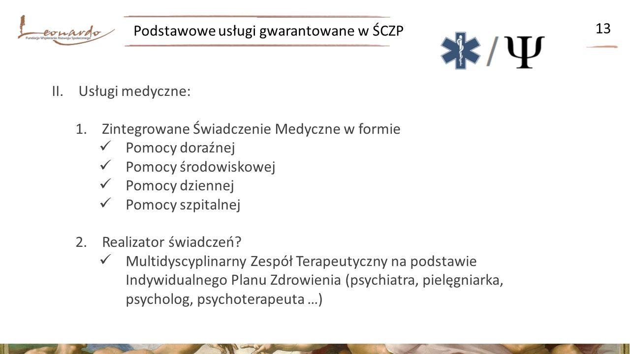 Podstawowe usługi gwarantowane w ŚCZP 13 II.Usługi medyczne: 1.Zintegrowane Świadczenie Medyczne w formie Pomocy doraźnej Pomocy środowiskowej Pomocy dziennej Pomocy szpitalnej 2.Realizator świadczeń.