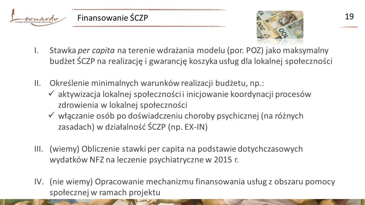 Finansowanie ŚCZP 19 I.Stawka per capita na terenie wdrażania modelu (por.