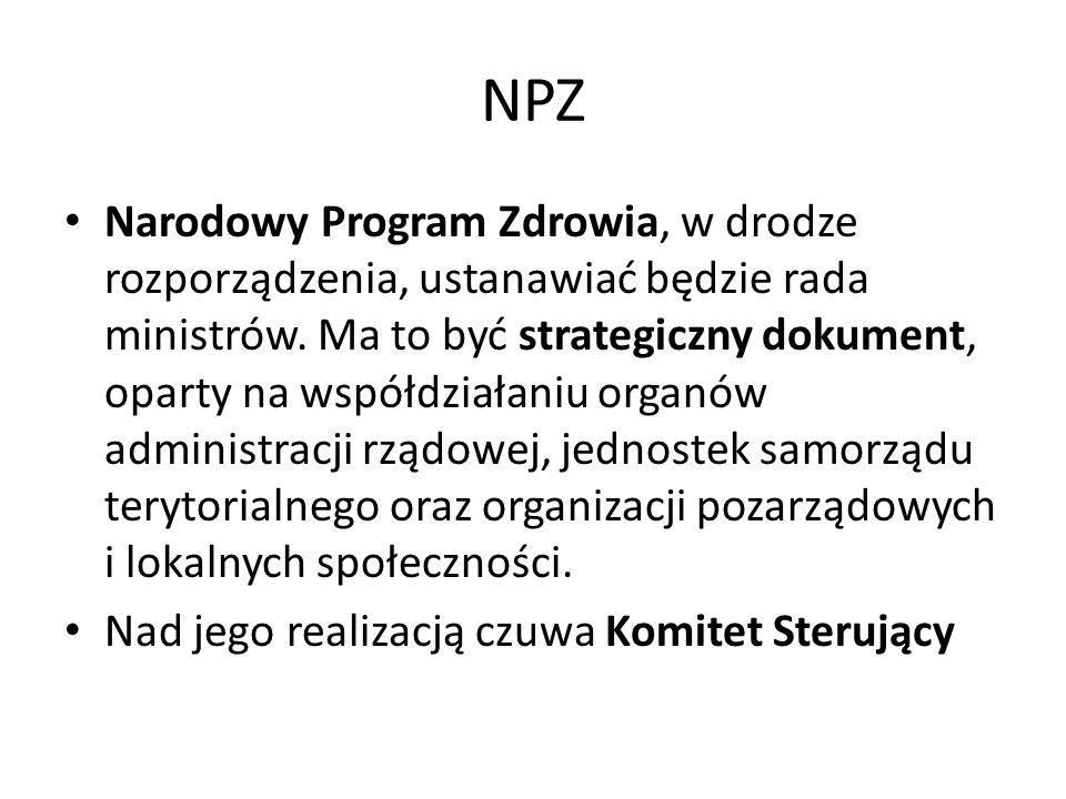 NPZ Narodowy Program Zdrowia, w drodze rozporządzenia, ustanawiać będzie rada ministrów.