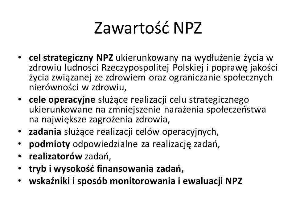 Zawartość NPZ cel strategiczny NPZ ukierunkowany na wydłużenie życia w zdrowiu ludności Rzeczypospolitej Polskiej i poprawę jakości życia związanej ze zdrowiem oraz ograniczanie społecznych nierówności w zdrowiu, cele operacyjne służące realizacji celu strategicznego ukierunkowane na zmniejszenie narażenia społeczeństwa na największe zagrożenia zdrowia, zadania służące realizacji celów operacyjnych, podmioty odpowiedzialne za realizację zadań, realizatorów zadań, tryb i wysokość finansowania zadań, wskaźniki i sposób monitorowania i ewaluacji NPZ