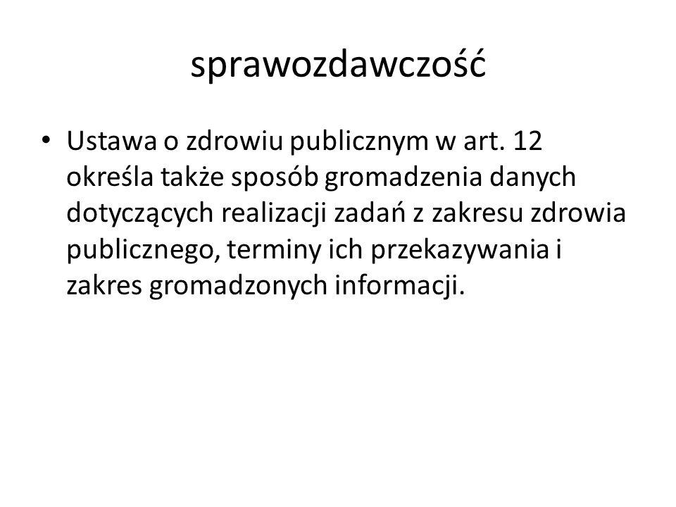 sprawozdawczość Ustawa o zdrowiu publicznym w art.