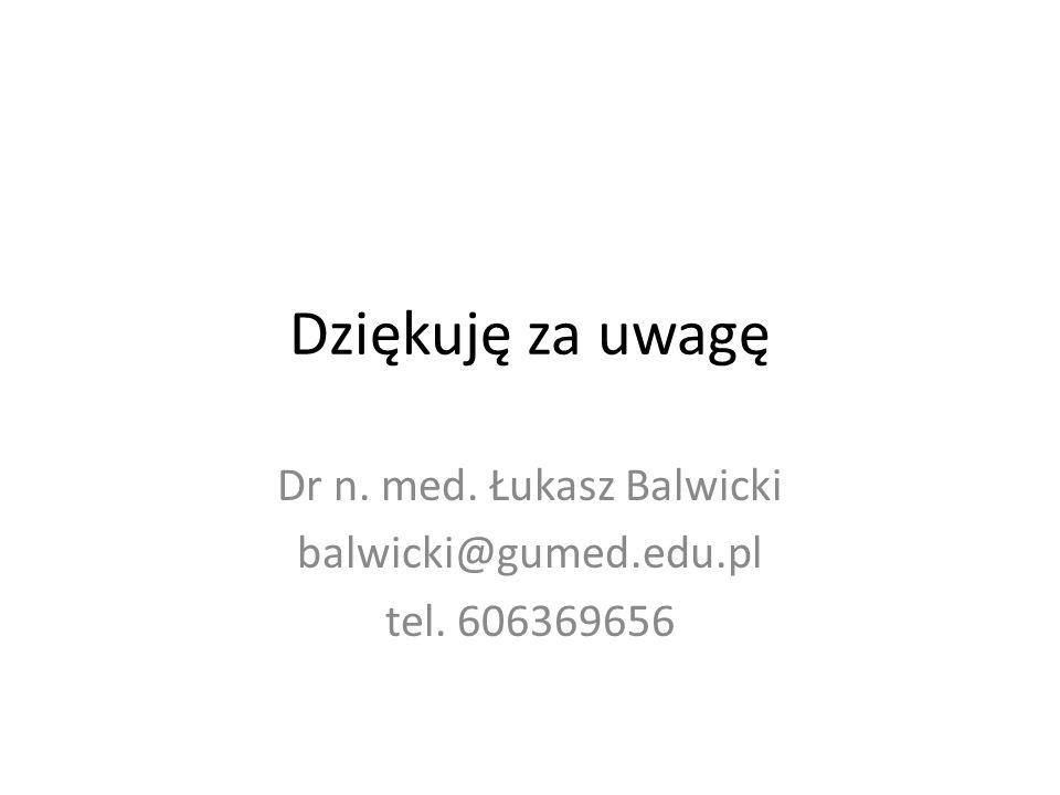 Dziękuję za uwagę Dr n. med. Łukasz Balwicki balwicki@gumed.edu.pl tel. 606369656