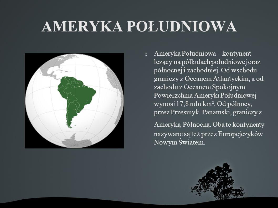 AMERYKA POŁUDNIOWA Ameryka Południowa – kontynent leżący na półkulach południowej oraz północnej i zachodniej.