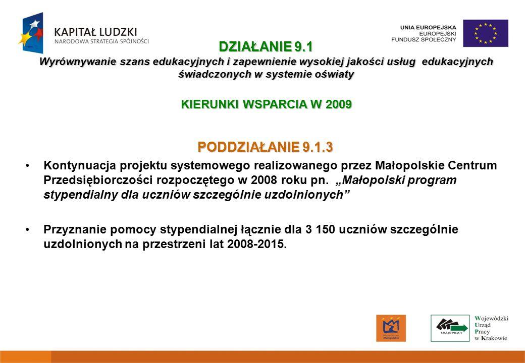 PODDZIAŁANIE 9.1.3 Kontynuacja projektu systemowego realizowanego przez Małopolskie Centrum Przedsiębiorczości rozpoczętego w 2008 roku pn.