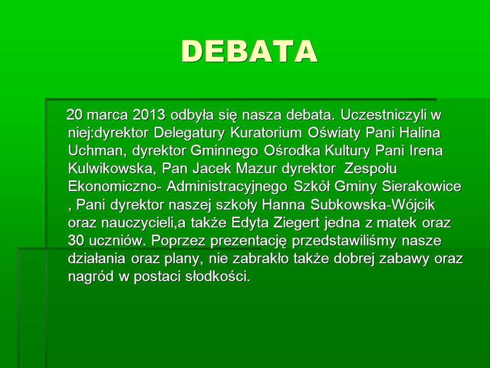 DEBATA 20 marca 2013 odbyła się nasza debata.