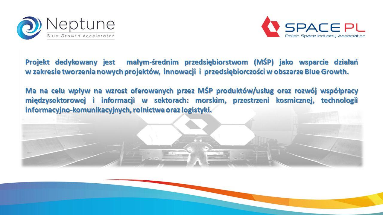 Projekt dedykowany jest małym-średnim przedsiębiorstwom (MŚP) jako wsparcie działań w zakresie tworzenia nowych projektów, innowacji i przedsiębiorczości w obszarze Blue Growth.