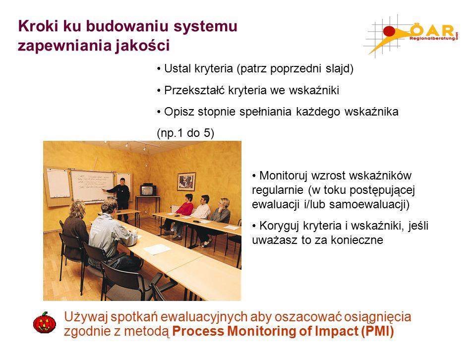 Kroki ku budowaniu systemu zapewniania jakości Ustal kryteria (patrz poprzedni slajd) Przekształć kryteria we wskaźniki Opisz stopnie spełniania każdego wskaźnika (np.1 do 5) Monitoruj wzrost wskaźników regularnie (w toku postępującej ewaluacji i/lub samoewaluacji) Koryguj kryteria i wskaźniki, jeśli uważasz to za konieczne Używaj spotkań ewaluacyjnych aby oszacować osiągnięcia zgodnie z metodą Process Monitoring of Impact (PMI)
