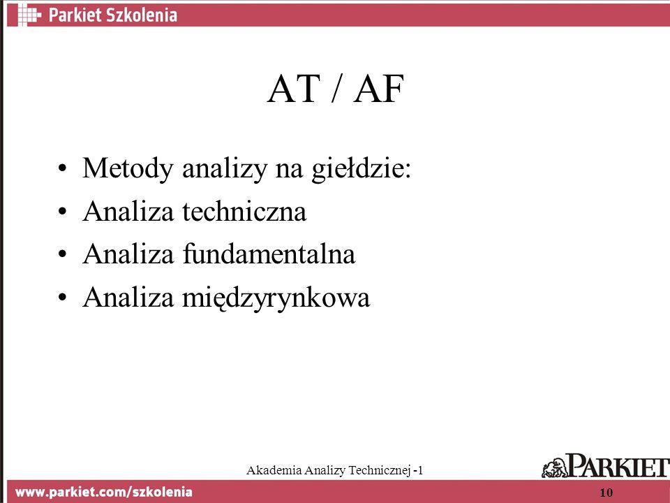 Akademia Analizy Technicznej -1 10 AT / AF Metody analizy na giełdzie: Analiza techniczna Analiza fundamentalna Analiza międzyrynkowa