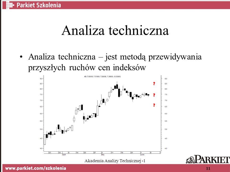 Akademia Analizy Technicznej -1 11 Analiza techniczna Analiza techniczna – jest metodą przewidywania przyszłych ruchów cen indeksów