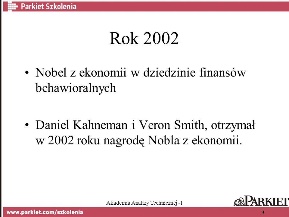 Akademia Analizy Technicznej -1 3 Rok 2002 Nobel z ekonomii w dziedzinie finansów behawioralnych Daniel Kahneman i Veron Smith, otrzymał w 2002 roku nagrodę Nobla z ekonomii.