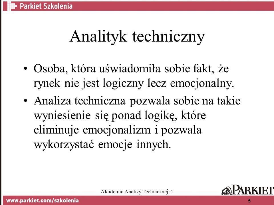 Akademia Analizy Technicznej -1 5 Analityk techniczny Osoba, która uświadomiła sobie fakt, że rynek nie jest logiczny lecz emocjonalny.