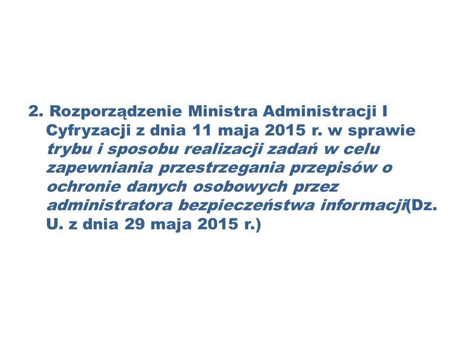 2. Rozporządzenie Ministra Administracji I Cyfryzacji z dnia 11 maja 2015 r.