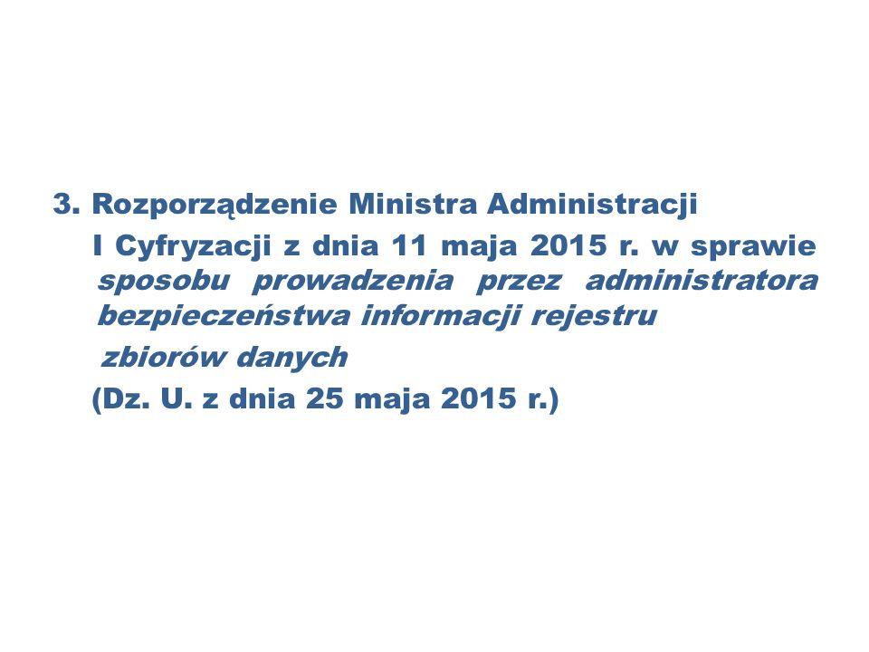 3. Rozporządzenie Ministra Administracji I Cyfryzacji z dnia 11 maja 2015 r.