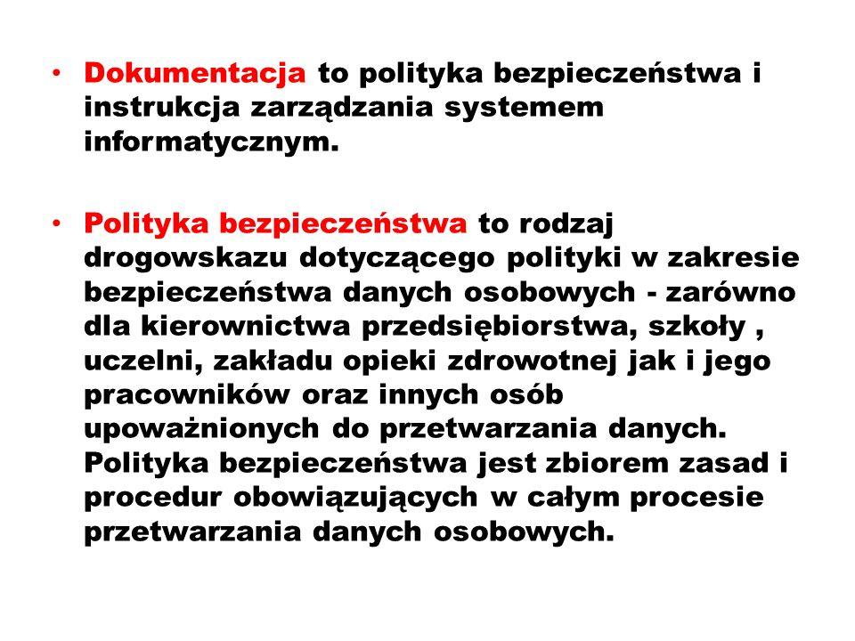 Dokumentacja to polityka bezpieczeństwa i instrukcja zarządzania systemem informatycznym.