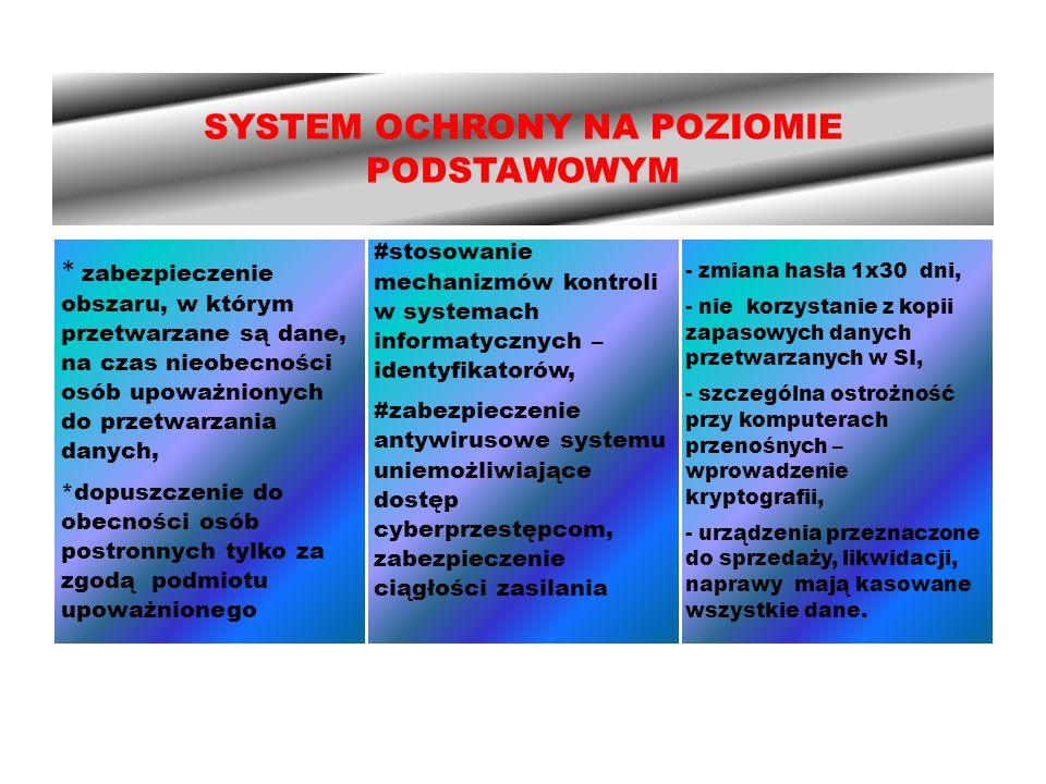 SYSTEM OCHRONY NA POZIOMIE PODSTAWOWYM * zabezpieczenie obszaru, w którym przetwarzane są dane, na czas nieobecności osób upoważnionych do przetwarzania danych, *dopuszczenie do obecności osób postronnych tylko za zgodą podmiotu upoważnionego #stosowanie mechanizmów kontroli w systemach informatycznych – identyfikatorów, #zabezpieczenie antywirusowe systemu uniemożliwiające dostęp cyberprzestępcom, zabezpieczenie ciągłości zasilania - zmiana hasła 1x30 dni, - nie korzystanie z kopii zapasowych danych przetwarzanych w SI, - szczególna ostrożność przy komputerach przenośnych – wprowadzenie kryptografii, - urządzenia przeznaczone do sprzedaży, likwidacji, naprawy mają kasowane wszystkie dane.