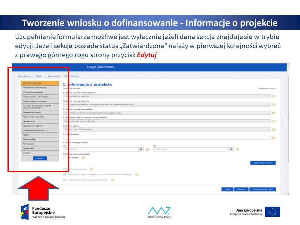 19 Uzupełnianie formularza możliwe jest wyłącznie jeżeli dana sekcja znajduje się w trybie edycji.