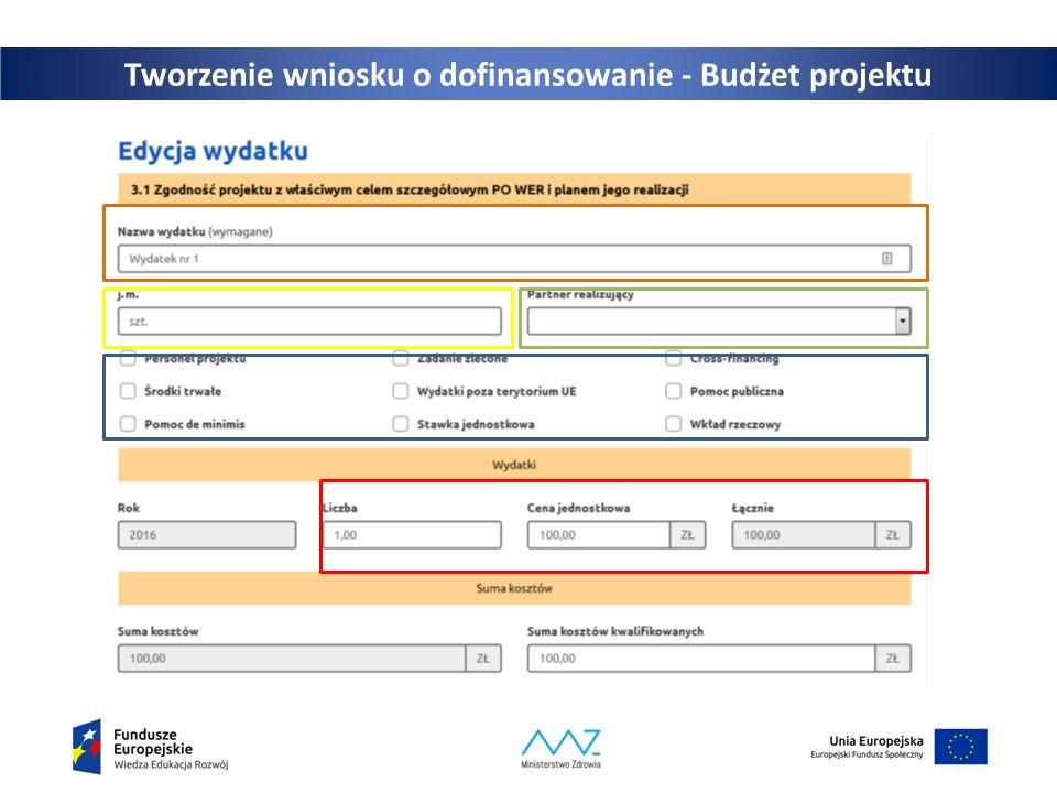 Tworzenie wniosku o dofinansowanie - Budżet projektu