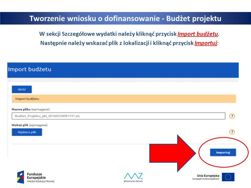 24 W sekcji Szczegółowe wydatki należy kliknąć przycisk Import budżetu.
