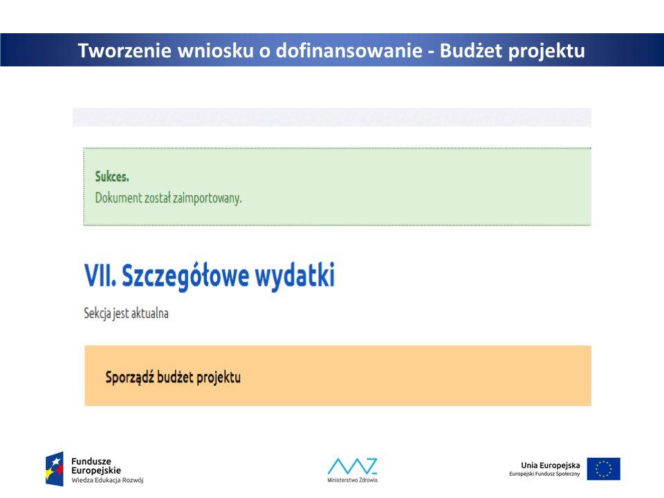 25 Tworzenie wniosku o dofinansowanie - Budżet projektu