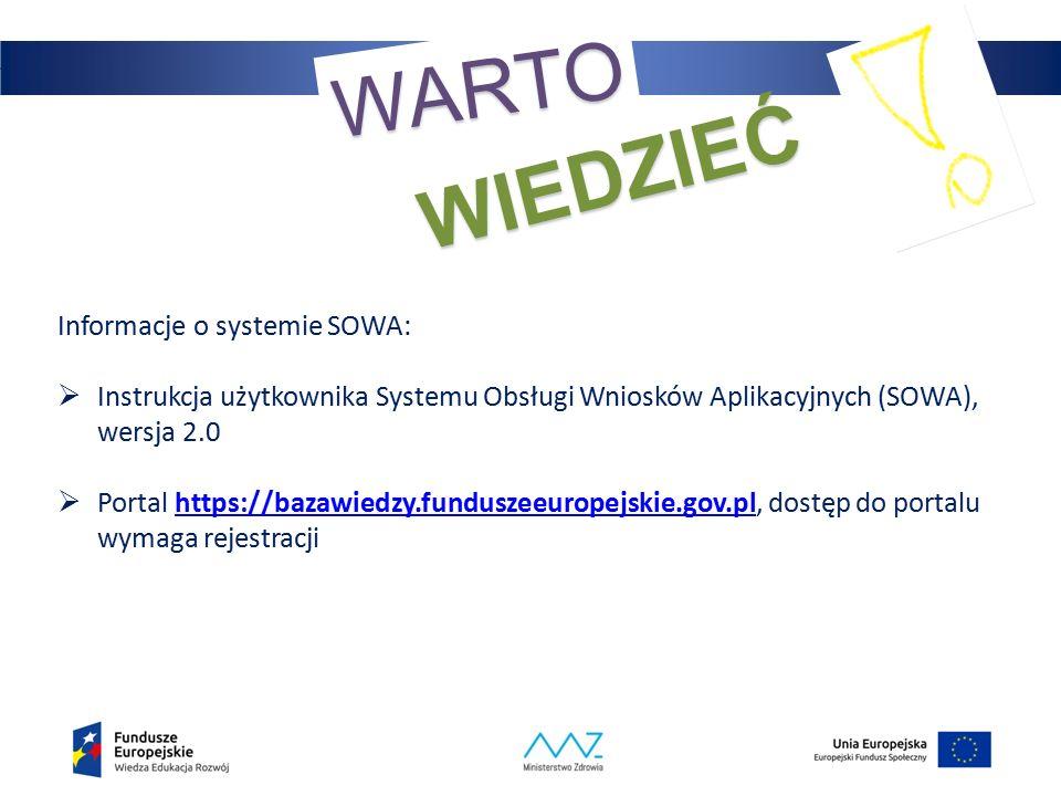 32 WARTO WIEDZIEĆ Informacje o systemie SOWA:  Instrukcja użytkownika Systemu Obsługi Wniosków Aplikacyjnych (SOWA), wersja 2.0  Portal https://bazawiedzy.funduszeeuropejskie.gov.pl, dostęp do portalu wymaga rejestracjihttps://bazawiedzy.funduszeeuropejskie.gov.pl