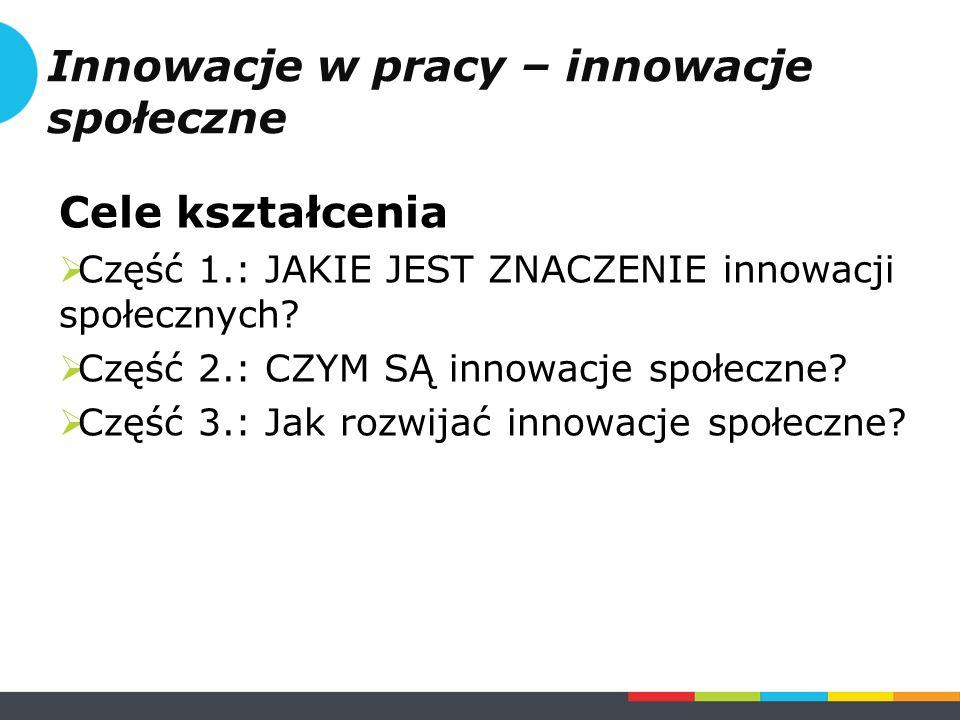 Część 1.JAKIE JEST ZNACZENIE innowacji społecznych.
