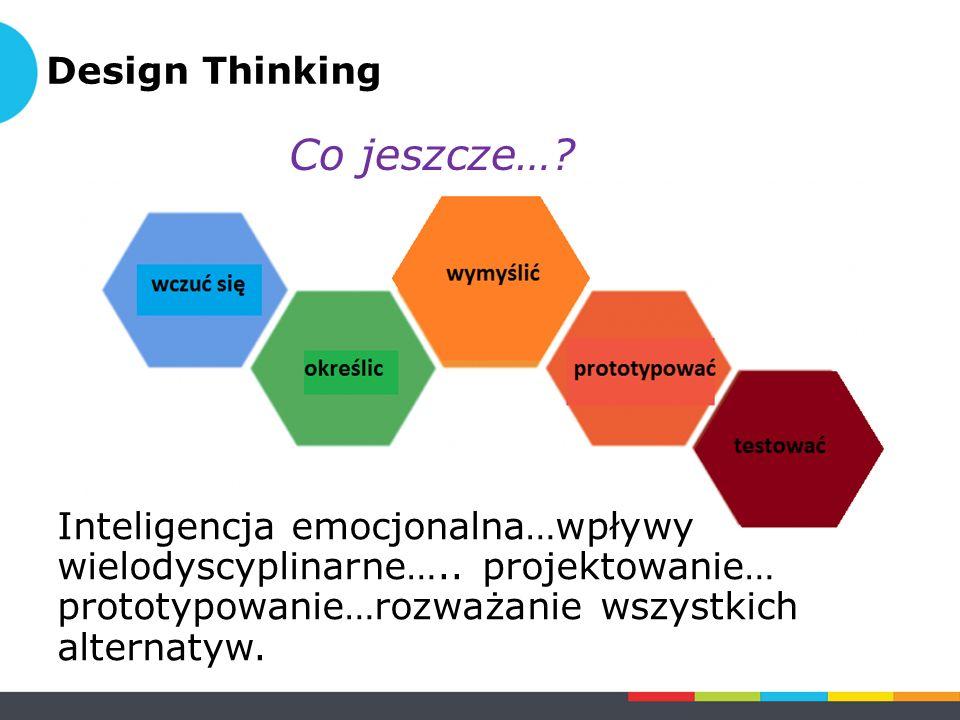Inteligencja emocjonalna…wpływy wielodyscyplinarne….. projektowanie… prototypowanie…rozważanie wszystkich alternatyw. Design Thinking Co jeszcze…?