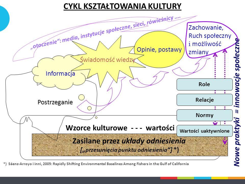 """Wzorce kulturowe - - - wartości Zasilane przez układy odniesienia ["""" przesunięcia punktu odniesienia """"] *) Postrzeganie Informacja Opinie, postawy Zac"""