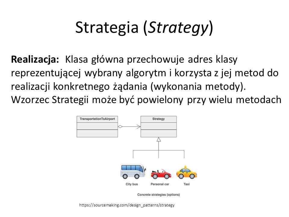 Strategia (Strategy) Realizacja: Klasa główna przechowuje adres klasy reprezentującej wybrany algorytm i korzysta z jej metod do realizacji konkretnego żądania (wykonania metody).