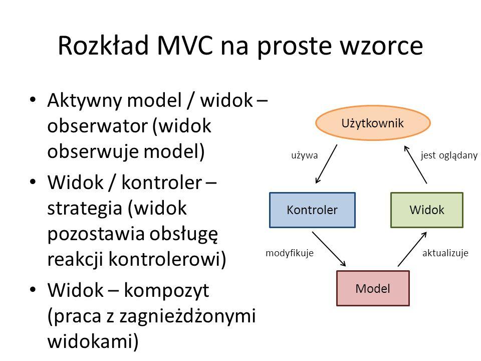 Rozkład MVC na proste wzorce Aktywny model / widok – obserwator (widok obserwuje model) Widok / kontroler – strategia (widok pozostawia obsługę reakcji kontrolerowi) Widok – kompozyt (praca z zagnieżdżonymi widokami) Model WidokKontroler aktualizujemodyfikuje Użytkownik używa jest oglądany