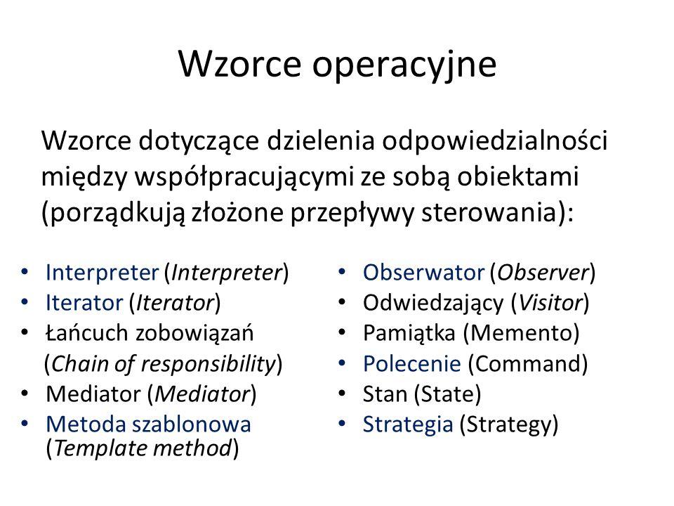 Wzorce operacyjne Wzorce dotyczące dzielenia odpowiedzialności między współpracującymi ze sobą obiektami (porządkują złożone przepływy sterowania): Interpreter (Interpreter) Iterator (Iterator) Łańcuch zobowiązań (Chain of responsibility) Mediator (Mediator) Metoda szablonowa (Template method) Obserwator (Observer) Odwiedzający (Visitor) Pamiątka (Memento) Polecenie (Command) Stan (State) Strategia (Strategy)