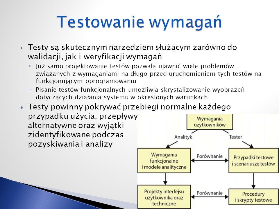  Testy są skutecznym narzędziem służącym zarówno do walidacji, jak i weryfikacji wymagań ◦ Już samo projektowanie testów pozwala ujawnić wiele problemów związanych z wymaganiami na długo przed uruchomieniem tych testów na funkcjonującym oprogramowaniu ◦ Pisanie testów funkcjonalnych umożliwia skrystalizowanie wyobrażeń dotyczących działania systemu w określonych warunkach  Testy powinny pokrywać przebiegi normalne każdego przypadku użycia, przepływy alternatywne oraz wyjątki zidentyfikowane podczas pozyskiwania i analizy 15