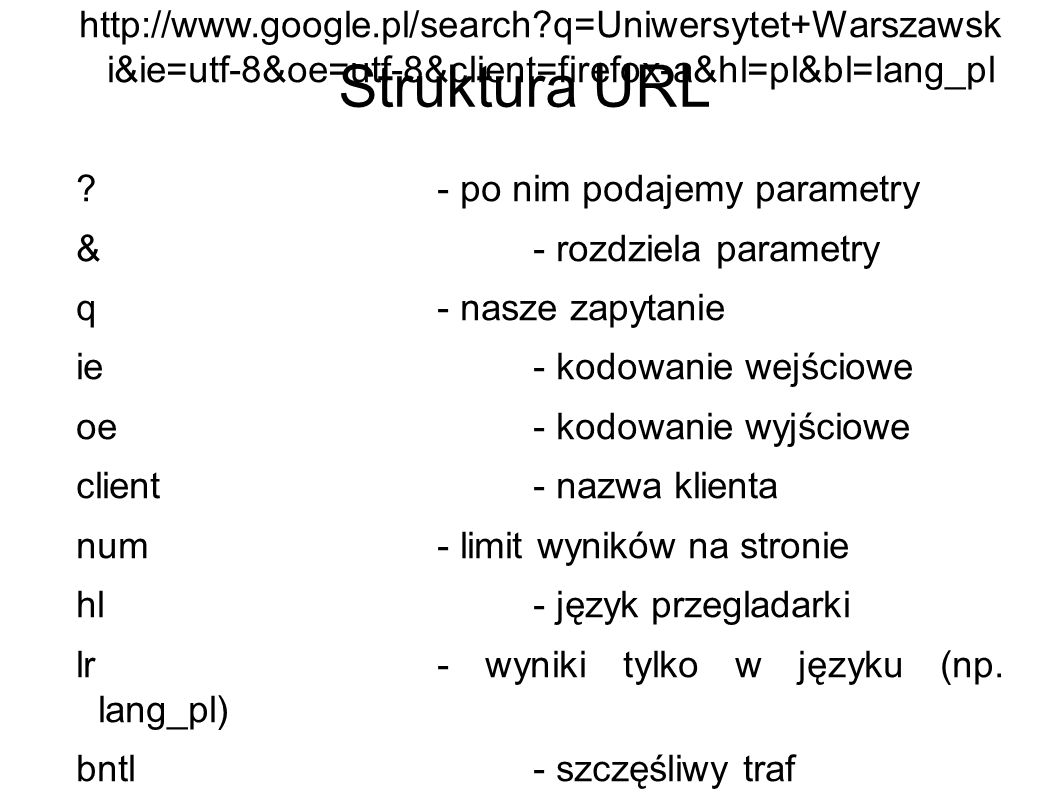 Struktura URL http://www.google.pl/search?q=Uniwersytet+Warszawsk i&ie=utf-8&oe=utf-8&client=firefox-a&hl=pl&bl=lang_pl ?- po nim podajemy parametry &- rozdziela parametry q- nasze zapytanie ie- kodowanie wejściowe oe- kodowanie wyjściowe client- nazwa klienta num- limit wyników na stronie hl- język przegladarki lr- wyniki tylko w języku (np.