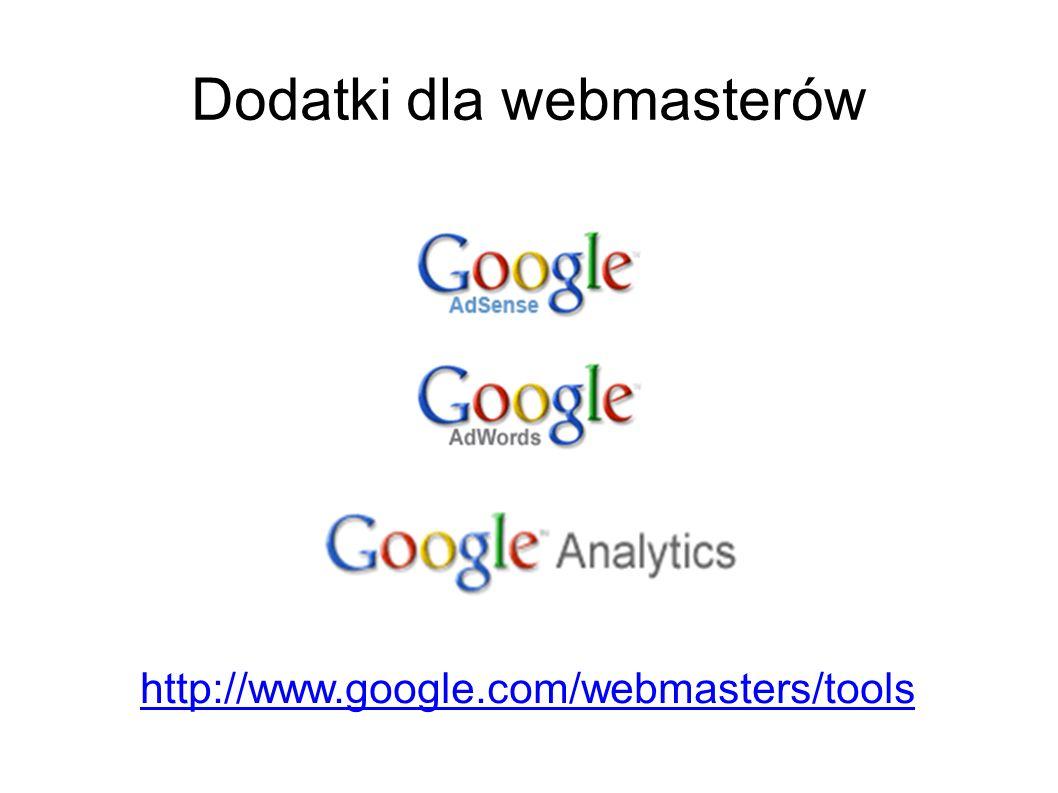 Dodatki dla webmasterów http://www.google.com/webmasters/tools