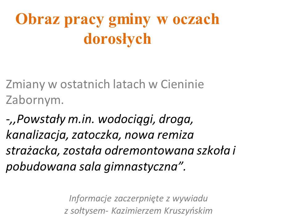 Obraz pracy gminy w oczach dorosłych Informacje zaczerpnięte z wywiadu z sołtysem- Kazimierzem Kruszyńskim Zmiany w ostatnich latach w Cieninie Zabornym.