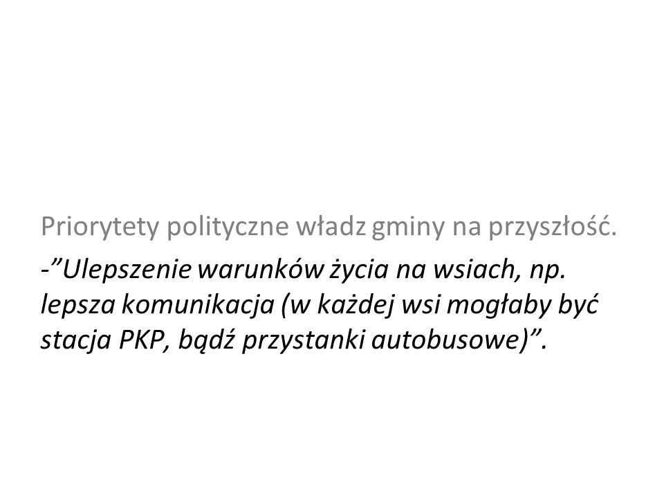 Priorytety polityczne władz gminy na przyszłość. - Ulepszenie warunków życia na wsiach, np.