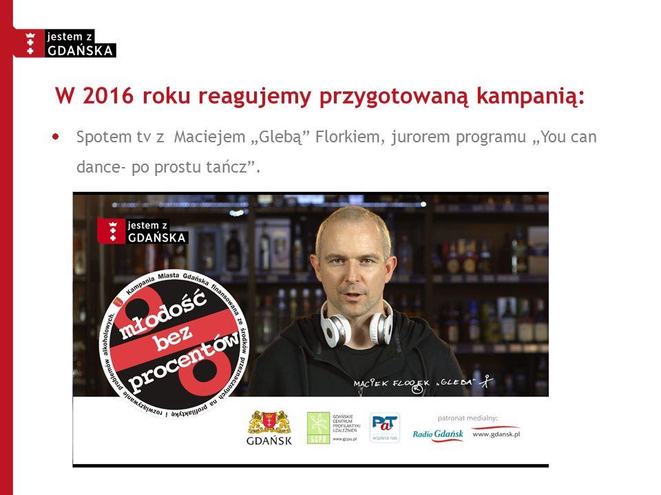 """W 2016 roku reagujemy przygotowaną kampanią:  Spotem tv z Maciejem """"Glebą"""" Florkiem, jurorem programu """"You can dance- po prostu tańcz""""."""