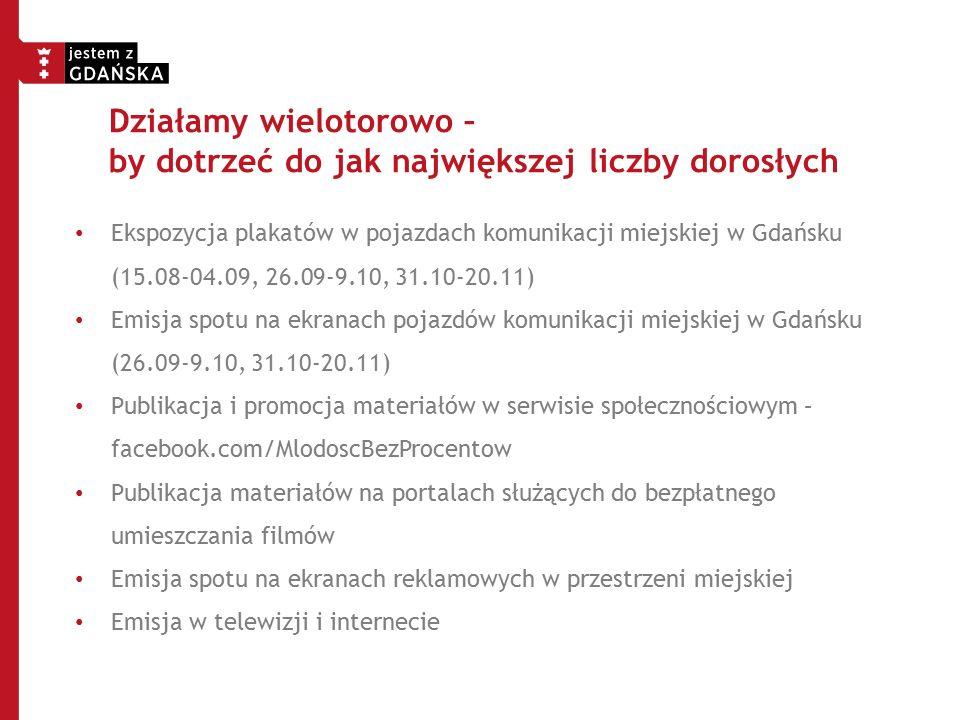 Działamy wielotorowo – by dotrzeć do jak największej liczby dorosłych Ekspozycja plakatów w pojazdach komunikacji miejskiej w Gdańsku (15.08-04.09, 26