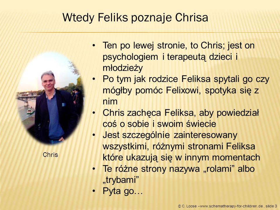 """Chris Ten po lewej stronie, to Chris; jest on psychologiem i terapeutą dzieci i młodzieży Po tym jak rodzice Feliksa spytali go czy mógłby pomóc Felixowi, spotyka się z nim Chris zachęca Feliksa, aby powiedział coś o sobie i swoim świecie Jest szczególnie zainteresowany wszystkimi, różnymi stronami Feliksa które ukazują się w innym momentach Te różne strony nazywa """"rolami albo """"trybami Pyta go… Wtedy Feliks poznaje Chrisa © C."""