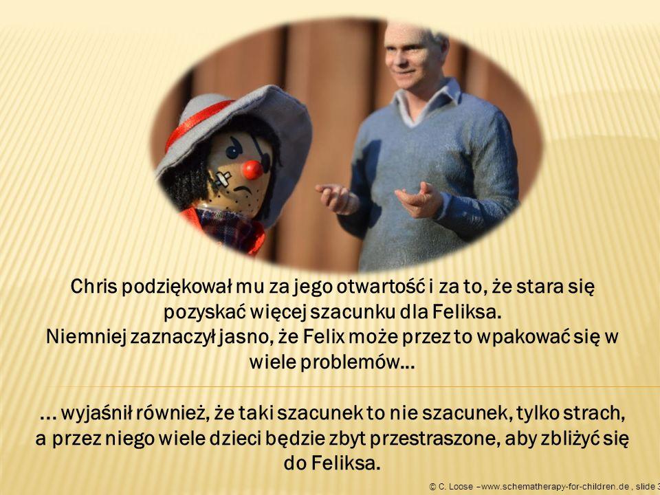 Chris podziękował mu za jego otwartość i za to, że stara się pozyskać więcej szacunku dla Feliksa.