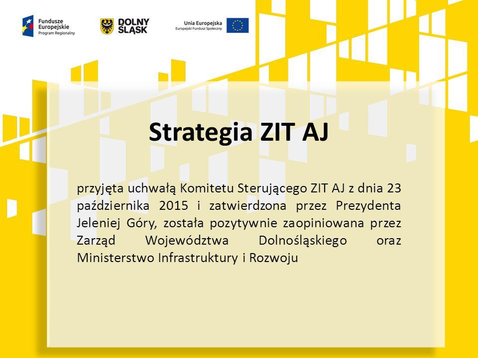 Strategia ZIT AJ przyjęta uchwałą Komitetu Sterującego ZIT AJ z dnia 23 października 2015 i zatwierdzona przez Prezydenta Jeleniej Góry, została pozytywnie zaopiniowana przez Zarząd Województwa Dolnośląskiego oraz Ministerstwo Infrastruktury i Rozwoju